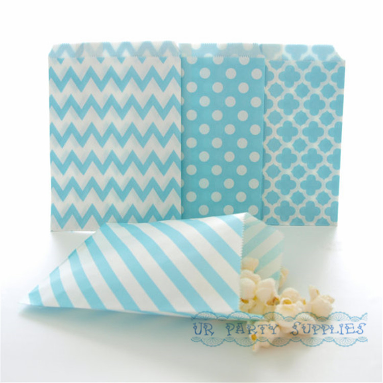 500pcs Light Blue Paper Party Bags Stripe Chevron Spanish Tile Polka Dot Bulk Party Supplies Candy