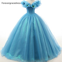 Forevergracedress High Quality Ball Gown Blue Wedding Dress Sexy New Long Organza With Lace Up Back
