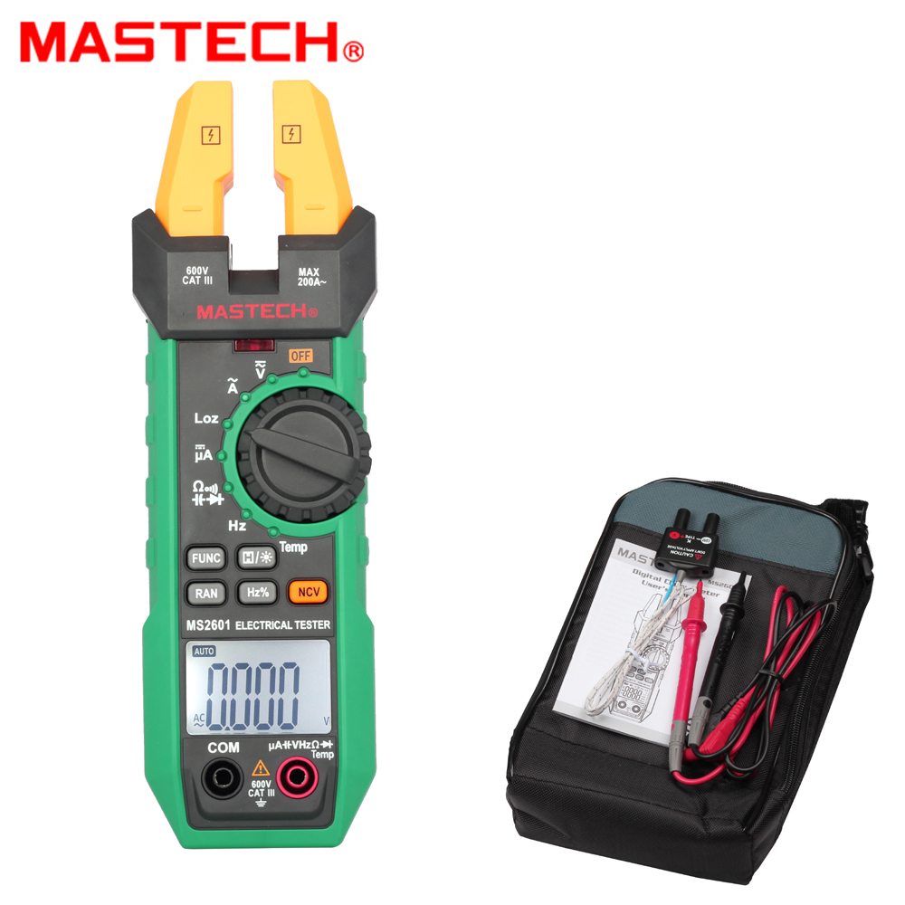 Mastech MS2601 Digital AC DC Fork Meter 200A 12mm Voltage Current Resistance Diodes Continuity Frequency Duty