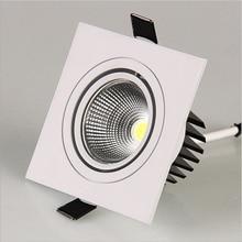 Светодиодный светильник квадратный 7 Вт 12 Вт Светодиодный светильник COB с регулируемой яркостью Встраиваемый светодиодный точечный потолочный светильник лампа AC85-265V+ Драйвер внутренний светильник ing