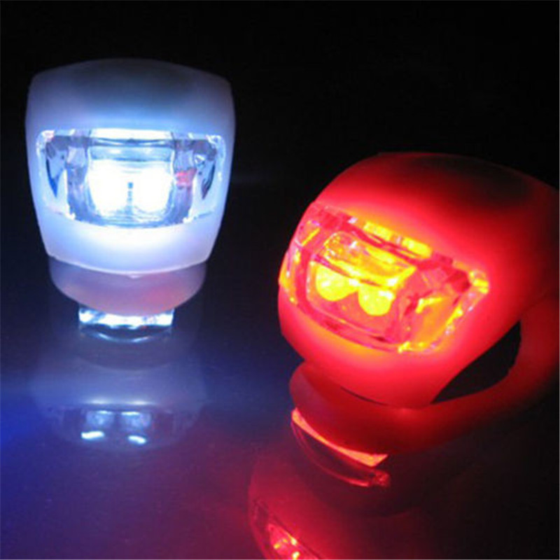 Muqgew 2pcs Silicone Bike Bicycle Cycling Head Front Rear Wheel Led Flash Light Lamp New Arrival Bicycle Accessories Bike Lamp Bicycle Accessories Sports & Entertainment
