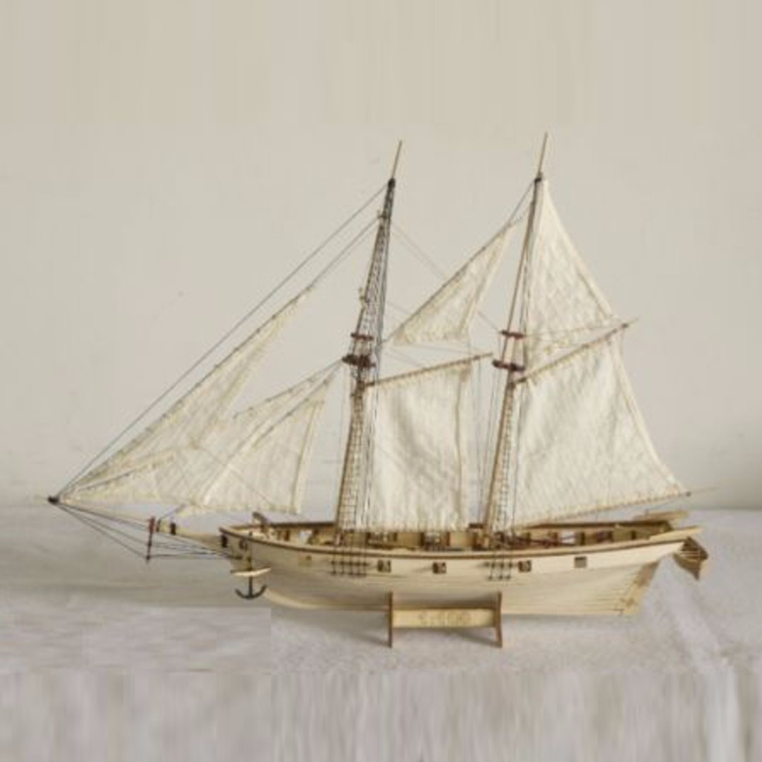 1:100 Scale Handmade Wooden Wood Sailboat Ship Kits Wooden Ships Model Assembly Toy Birthday Gift Souvenirs Toy