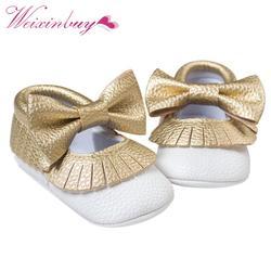 Детские Золотистые туфли мягкая подошва Мокасины новорожденных Искусственная кожа скольжения на первых шагов