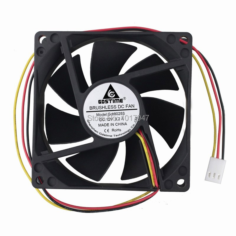 10 Pieces LOT Gdstime DC <font><b>12V</b></font> 3Pin 8025 <font><b>80mm</b></font> 80 x 25mm <font><b>PC</b></font> Cooler Cooling Heatsink <font><b>Fan</b></font> image