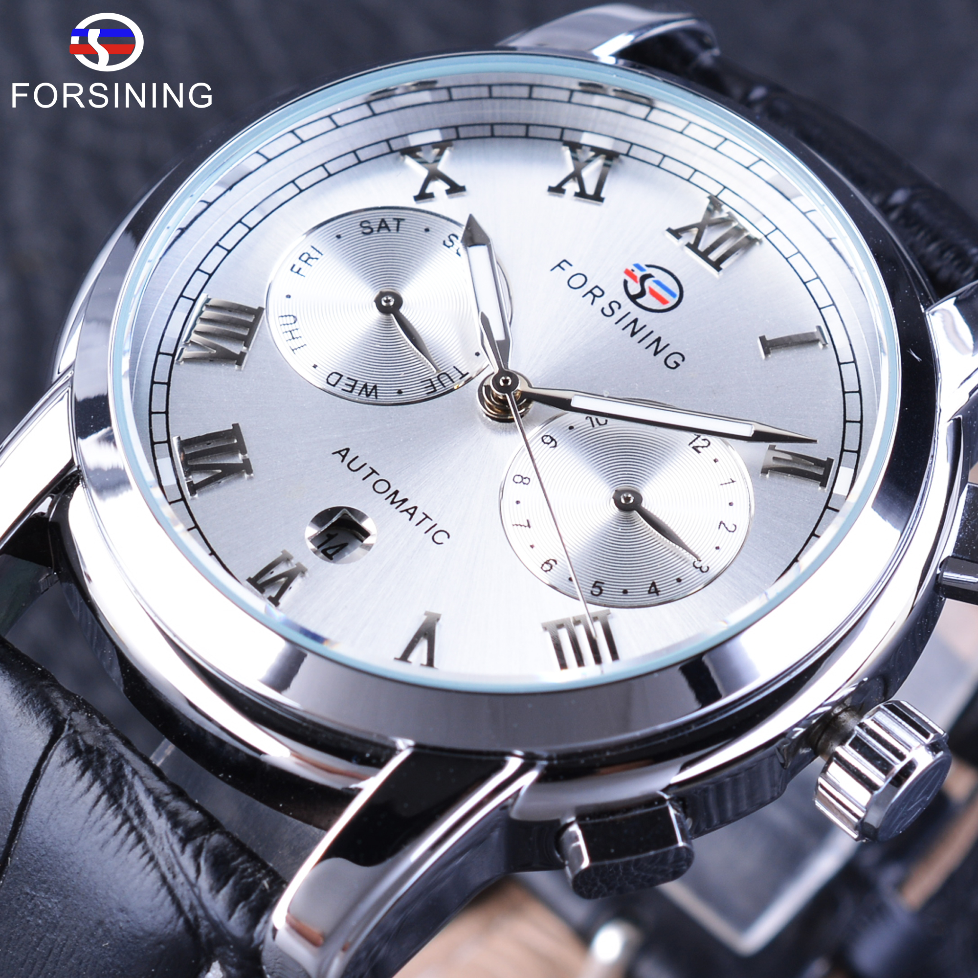 Forsining Men's Mechanical Watches Complete Calendar Display Black Genuine Leather Strap Top Brand Luxury Watch Male Clock forsining classic series black genuine leather strap 3 dial 6 hands men watch top brand luxury automatic mechanical watch clock
