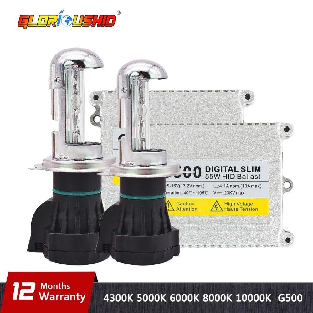 1 ensemble h4 lampe au xénon AC 55 W G500 kit de conversion hid ampoule à néon 9007 H13 bi xénon 4300 k 5000 k 6000 k 8000 k h4 salut bas ballast hid