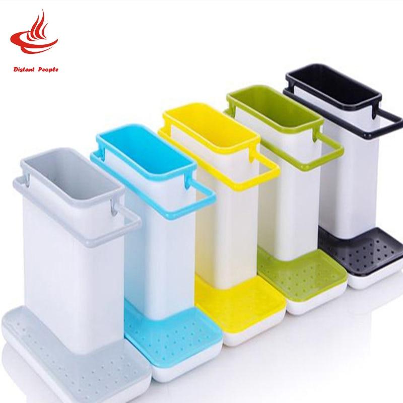 Multifunctional Sponge Kitchen Box Draining Rack Plastic Dish Shelf Draining Sink Storage Rack Kitchen Organizer Stands Utensils