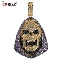 Новая мода Iced Out Skeletor кулон ожерелье с теннисная цепочка медь хип хоп золотой серебряный цвет мужские/женские очаровательные цепи ювелирные...