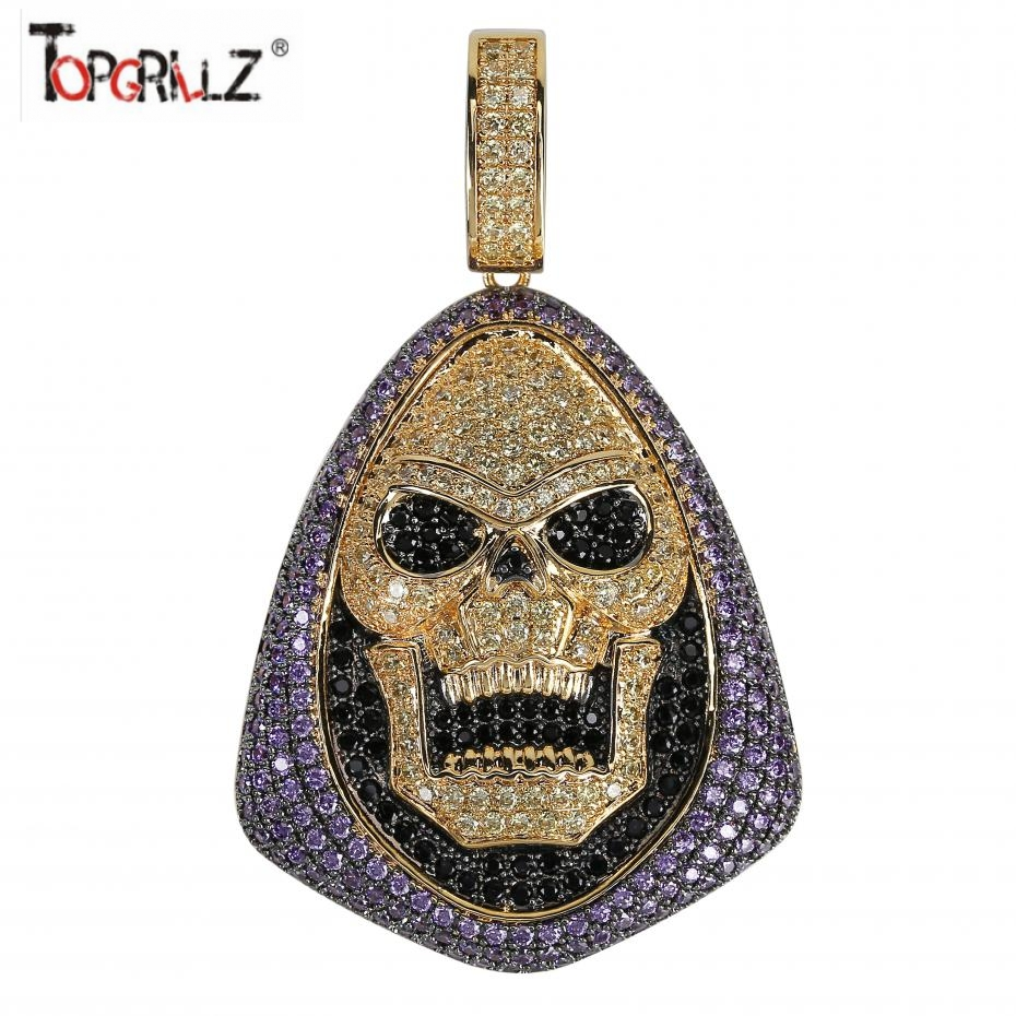 New Fashion Iced Out Skeletor Pendant Necklace With Tennis Chain Copper Hip Hop Gold Silver Color Mens/Women Charm Chain Jewelry image