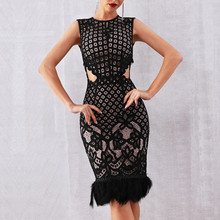 DressBird Women Summer Dress Bandage Bodycon Vestidos Sexy Sleeveless Lace Hollow Out Club Runway Celebrity Party