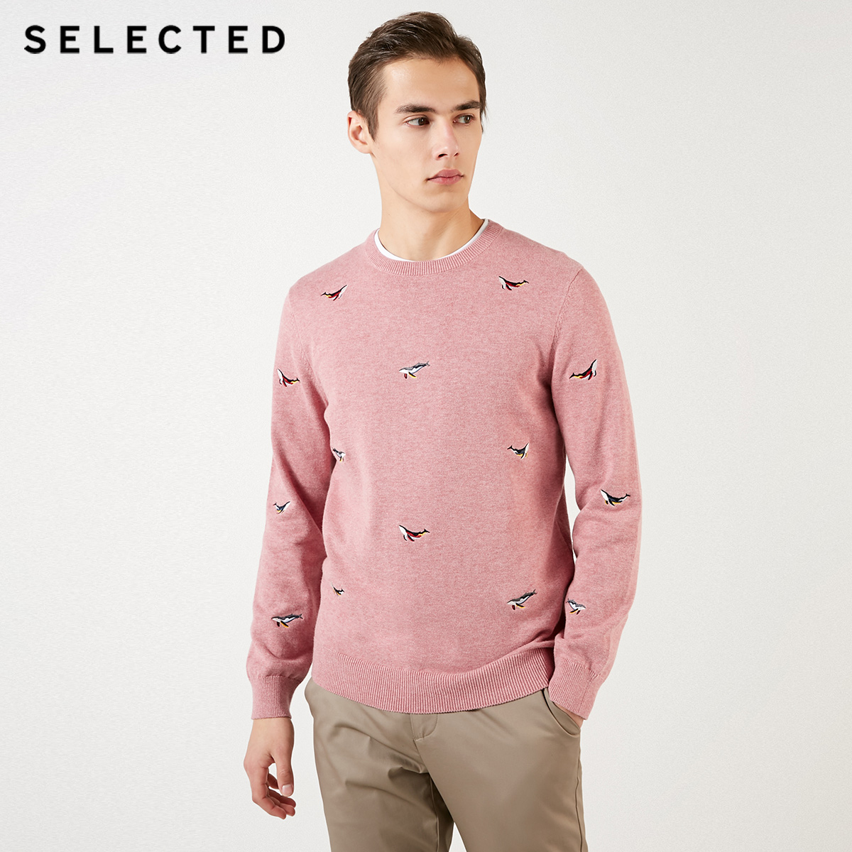 Image 3 - SELECTED Mens 100% Cotton Animal Embroidery Pullovers Sweater New Casual Knit Clothes C  419124539Pullovers