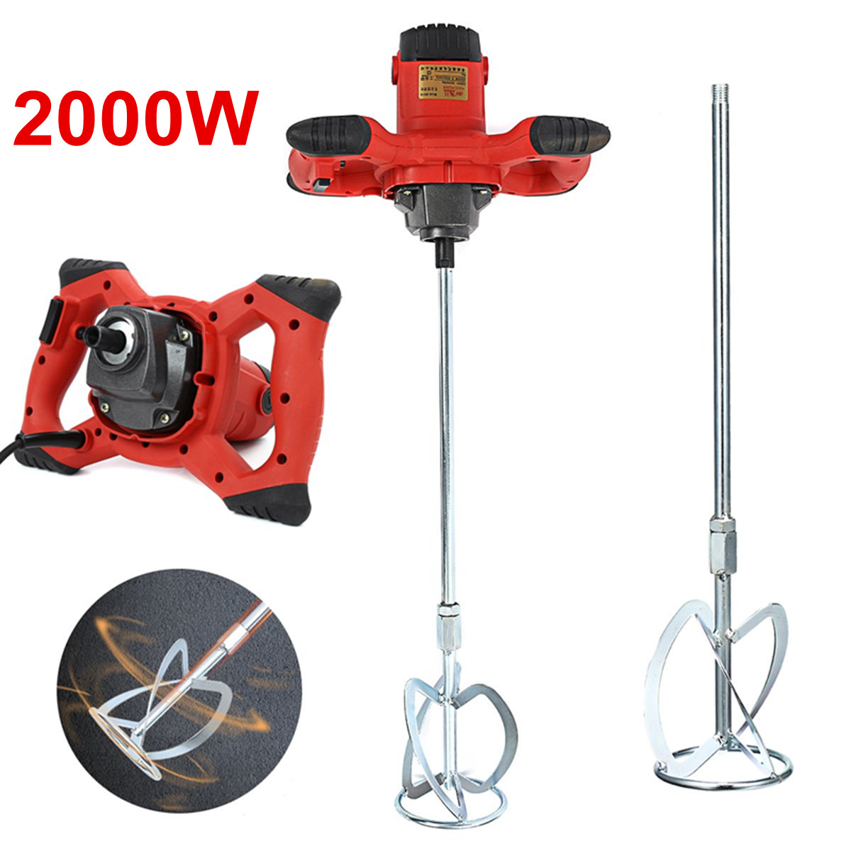 2000W 220V Major Handheld 6-speed Electric Cement Mixer For Stirring Mortar Paint Cement Grout For Mixing Feed Food Paint Cement