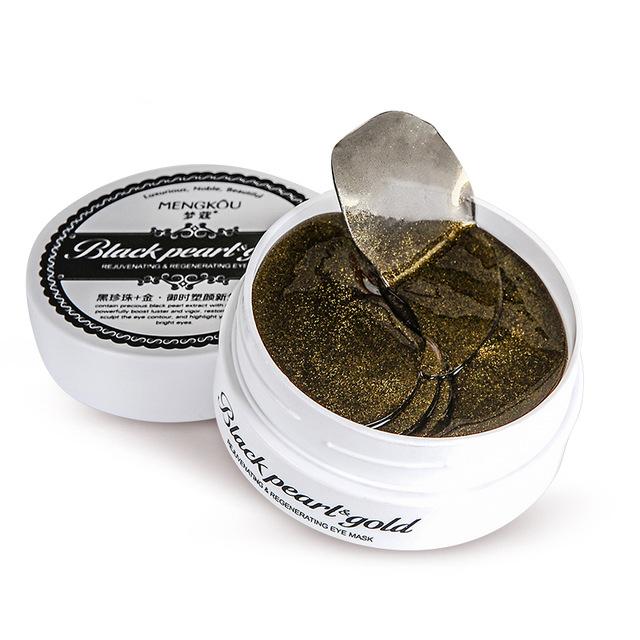 30 Par/bolsa Negro Perla y Oro Decoloración Bolsa Ojo Círculo Oscuro Tratamiento Eye Mask Antiarrugas Hidratante Hidratante Ojo crema