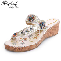 2017 New Shefouly Women Thick Embroidered Bohemian String Beaded Sand Beach Sandals Tendon Bottom Chinese Style
