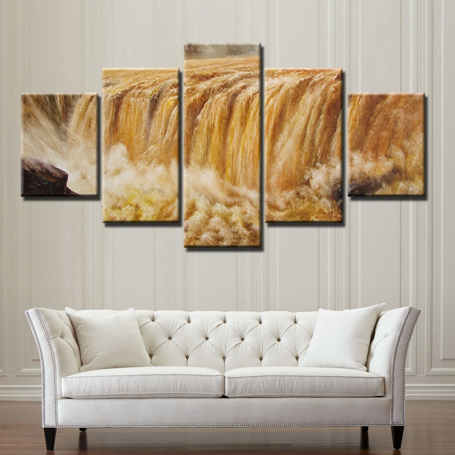 Famous Scenic Spots in China  Yellow River  Magnificent Painting Canvas Cool Wall Art Decor for Office Home Room Best Gift Art ...