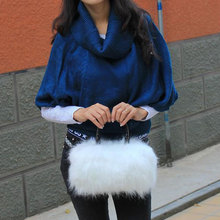 Rabbit Fur Women Messenger Bags Leather Luxury Handbags