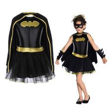 طفل بنات باتمان باتجيرل فستان بتصميم حالم توتو خارقة زي وتتسابق كوميدي 4 قطعة