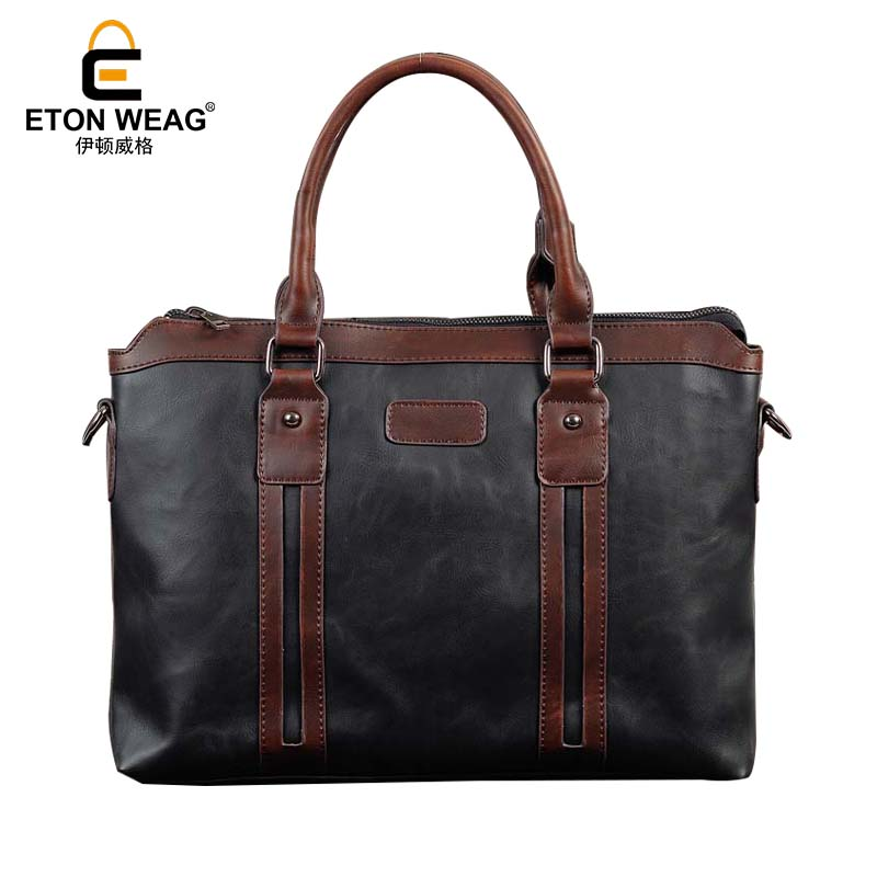 ETONWEAG Brands Designer Handbags High Quality Messenger Bag Men Leather Black Vintage Handbag Business Shoulder Laptop Bag etonweag brands italian leather designer handbags high quality black zipper men messenger bags man business shoulder laptop bag