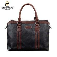 ETONWEAG New 2017 men famous brands cow leather black laptop vintage shoulder bag zipper business style business style handbags