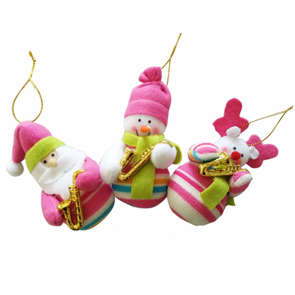 Musical instruments ornaments - 3pce Set Christmas Tree Decor Ornament Musical Instruments Non Woven Fabrics Snowman Elk Xmas Decoration Gift Set