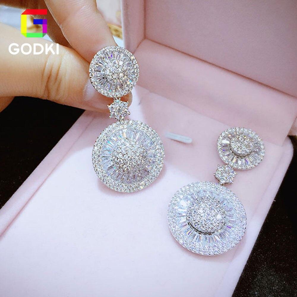 GODKI Geometric Round Shape Mirco Pave AAA Cubic Zircon Women Engagement Earring Studs|silver earring studs|earrings studsilver earrings - AliExpress