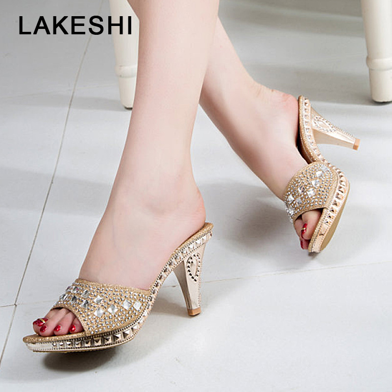 LAKESHI Spike Heels Slipper Women Pumps 2018 Sexy High Heels Slippers Women Crystal Party Women Shoes Gold Open Toe Ladies Shoes aidocrystal silver color open toe pumps ladies high heels wedding party crystal slingback shoes with matching bag