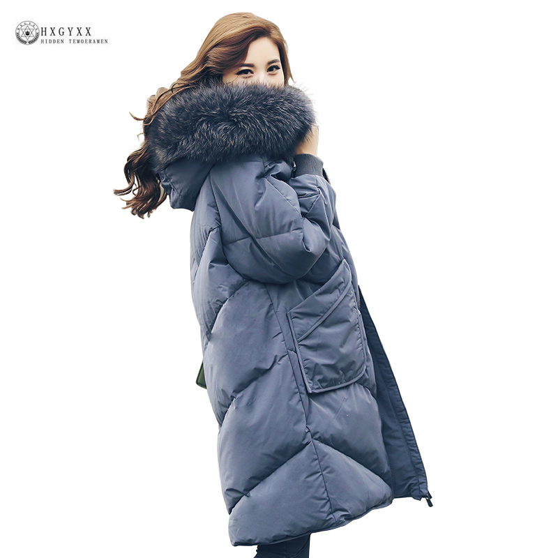 Real Raccoon Fur Collar   Down     Coat   Women Thick Warm Parka Hooded White Duck   Down   Jackets Female Long Outerwear Winter   Coat   OK1127