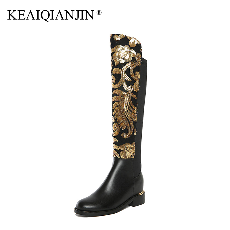 KEAIQIANJIN Woman Bling Knee High Boots Autumn Winter Plus Size 34 - 42 Shoes Fashion Black Genuine Leather Knee High Boots 2017 oversize autumn winter men s tapered jeans trousers denim harem pant plus size 40 42 44 46 48