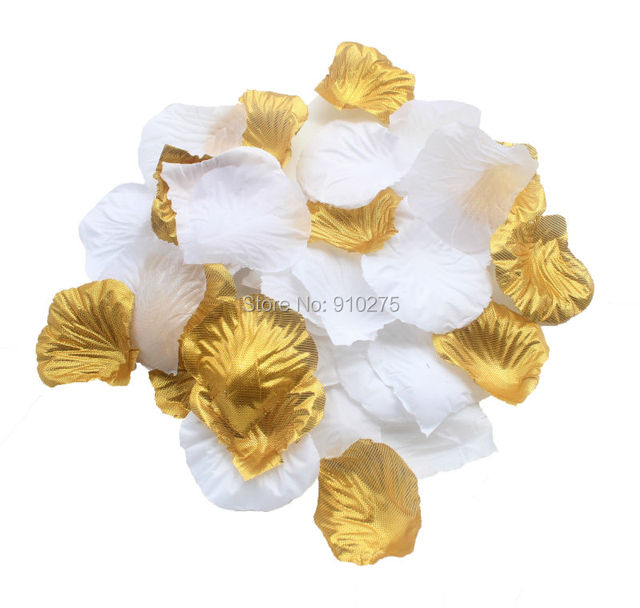 Set Of 600 Gold White Silk Rose Petals Artificial Flowers Wedding