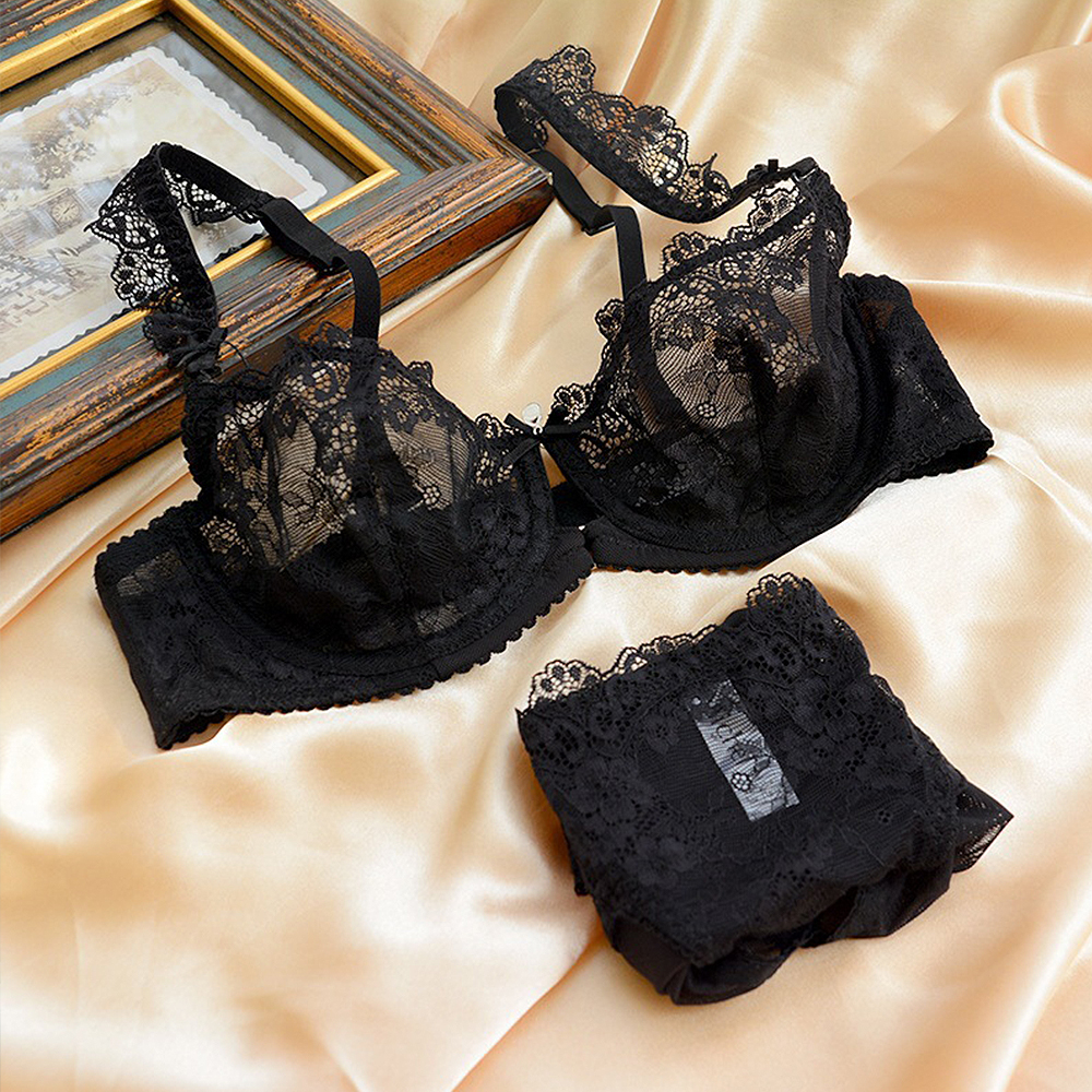 68cce49a3 New Arrival Ladies Bra Sets Lace Bralette Women Underwear Unlined Thin Bras  Panty Floral Sexy Lingerie A B C D 32 34 36 38 40 42-in Bra   Brief Sets  from ...