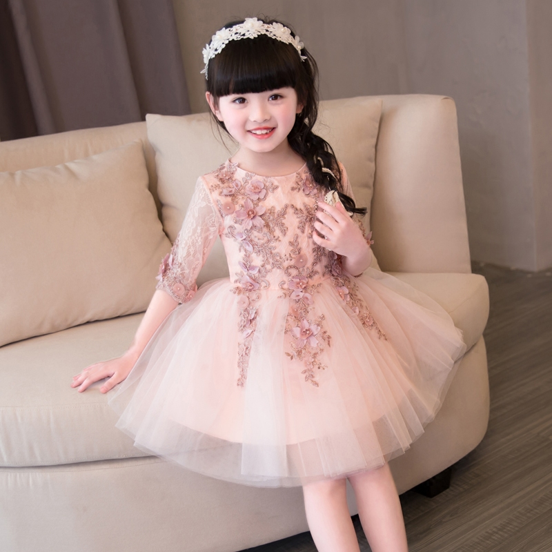 2017New Korean Formal Princess Costumes Party Dress Girl Kids Luxury Embroidery Lace Birthday Wedding Party Half Sleeves Dress green crew neck roll half sleeves mini dress