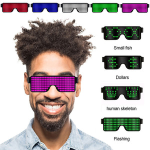 8 Modes Quick Flash USB Led Party USB charge Luminous Glasses Glow Sunglasses Christmas Concert light Toys Christmas decorations