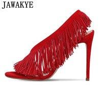2019 Newest Summer Sandals women suede fringe T Show high heels sexy peep toe tassel dress pumps slingback sapato feminino
