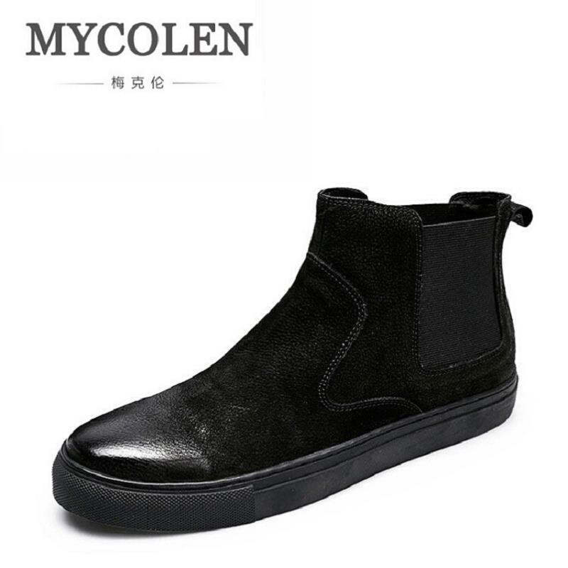 MYCOLEN Men Boots 2017 Luxury Fashion Black Chelsea Boots Men Outdoor Shoes Men Footwear Rubber Ankle Boot Winter Shoes Chuteira mycolen 2017 fashion winter men boots british style working safety boots casual winter men shoes male black leather ankle boots