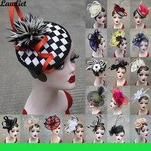 คอลเลกชันใหม่ Fascinators หมวก Sinamay Feather ตาข่ายหมวกสำหรับ Womens Kentucky Derby งานแต่งงานค็อกเทล Headband 1pcs