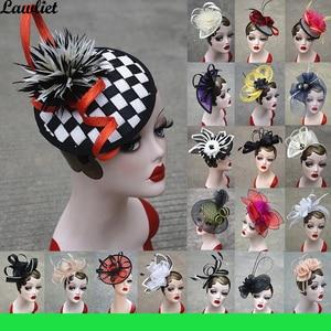 Image 1 - คอลเลกชันใหม่ Fascinators หมวก Sinamay Feather ตาข่ายหมวกสำหรับ Womens Kentucky Derby งานแต่งงานค็อกเทล Headband 1pcs