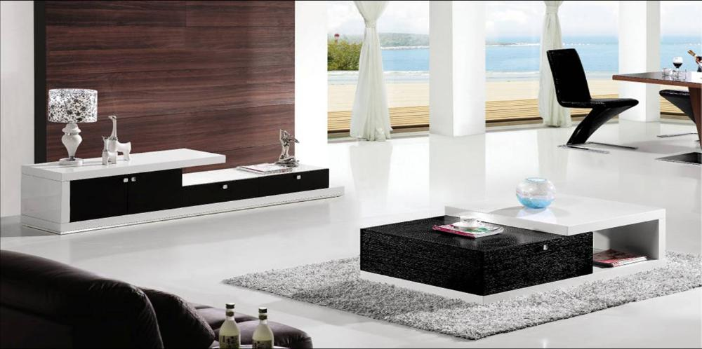Modern design balck white wood furniture tea coffee for Tv set design living room