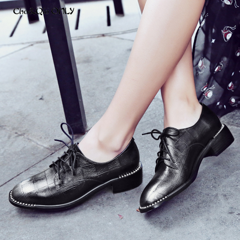 Chi&Cho Concise Women Oxfords Shoes Woman Square Toe Genuine Printed Leather Fashion Ladies Crystal Edge Derby Flats Shoes qmn women crystal trimmed brushed embossed leather brogue shoes women square toe oxfords shoes woman genuine leather flats 34 43
