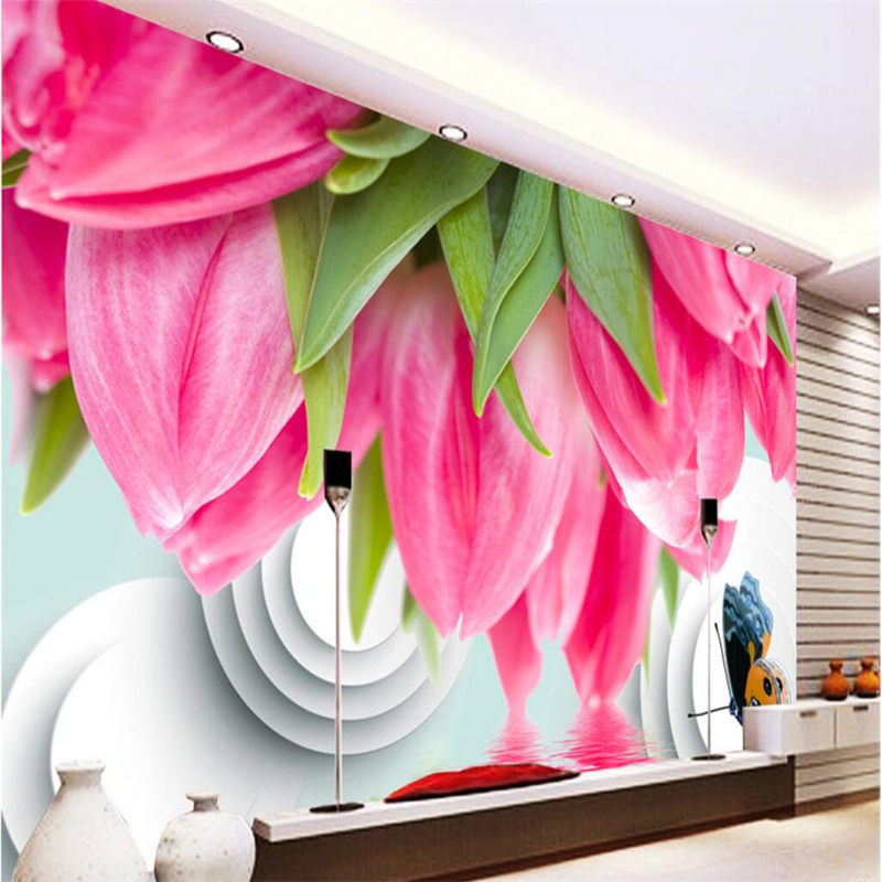 Red Tulip Farm Wall Mural Photo Wallpaper GIANT DECOR Paper Poster Free Paste