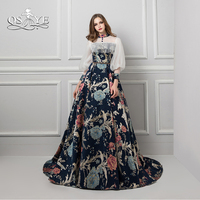 QSYYE 2018 New Fashion Evening Dresses 3D Print Flower Lace 3 4 Sleeves Long Prom Dress