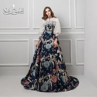 QSYYE 2018 New Fashion Evening Dresses 3D Print Flower Lace 3 4 Sleeves Long Prom Dress