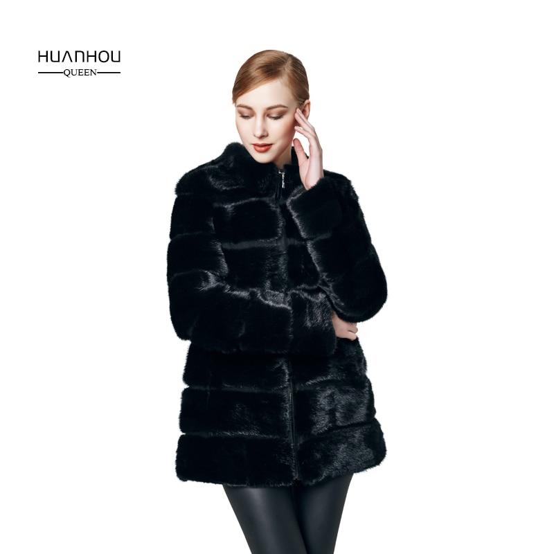 HUANHOU REINE réel vison manteau de fourrure de haute qualité, vison manteau de fourrure pour les femmes de mode mince et plein manches, chaud d'hiver.
