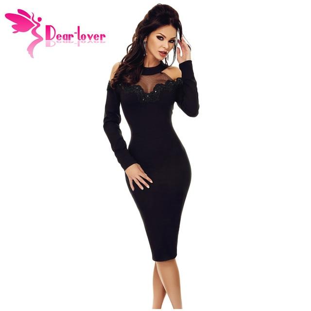 1547b1a98964 Dear Lover Party Dress Long Sleeve Women Elegant Black Crochet Applique  Mesh Insert Hollow out Cold Shoulder Midi Dress LC61894