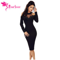 Dear Lover Party Dress Long Sleeve Women Elegant Black Crochet Applique Mesh Insert Hollow Out Cold