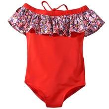 Детские купальники для девочек из полиэстера с короткими рукавами; для детей Одна деталь купальный костюм бикини с цветочным принтом пляжное платье с открытыми плечами, наряды Комбинезон K330