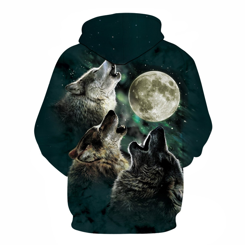 Wolf With Moon Pritned Men Women Hoodies