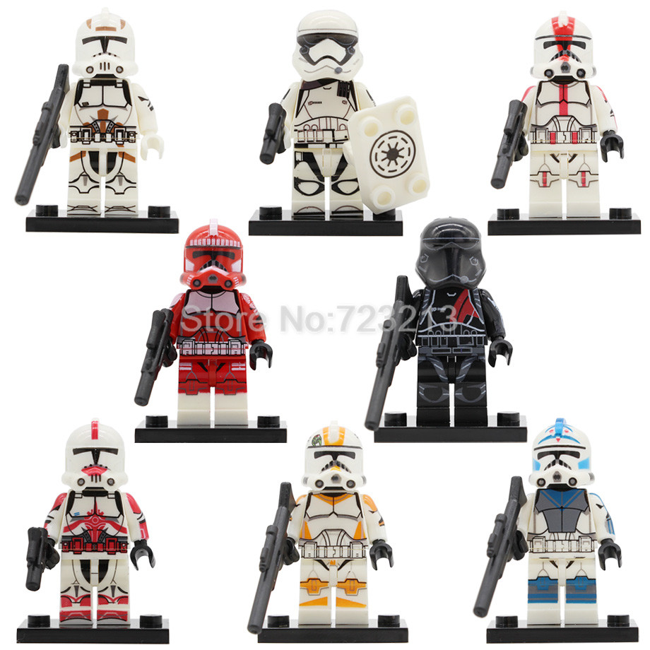 Star Wars Clone Trooper Figure Imperial Army Military Stormtrooper Building Kits Blocks Brick Set Model Toys PG8097 ksz star wars minifig darth vader white storm trooper general grievous figure toys building blocks