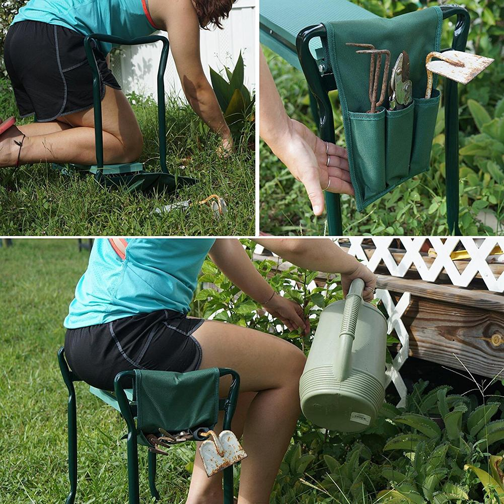 Garden Multi-Functional Bench Kneeler With Handles Folding Stainless Steel Garden Stool With EVA Kneeling Pad Gardening Tools 4