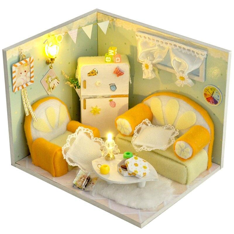 Lemon Fruit Room Miniature Dollhouse DIY Wooden Dolls House Furniture Kits LED Lights Handmade Puzzle Toy Children Birthday Gift