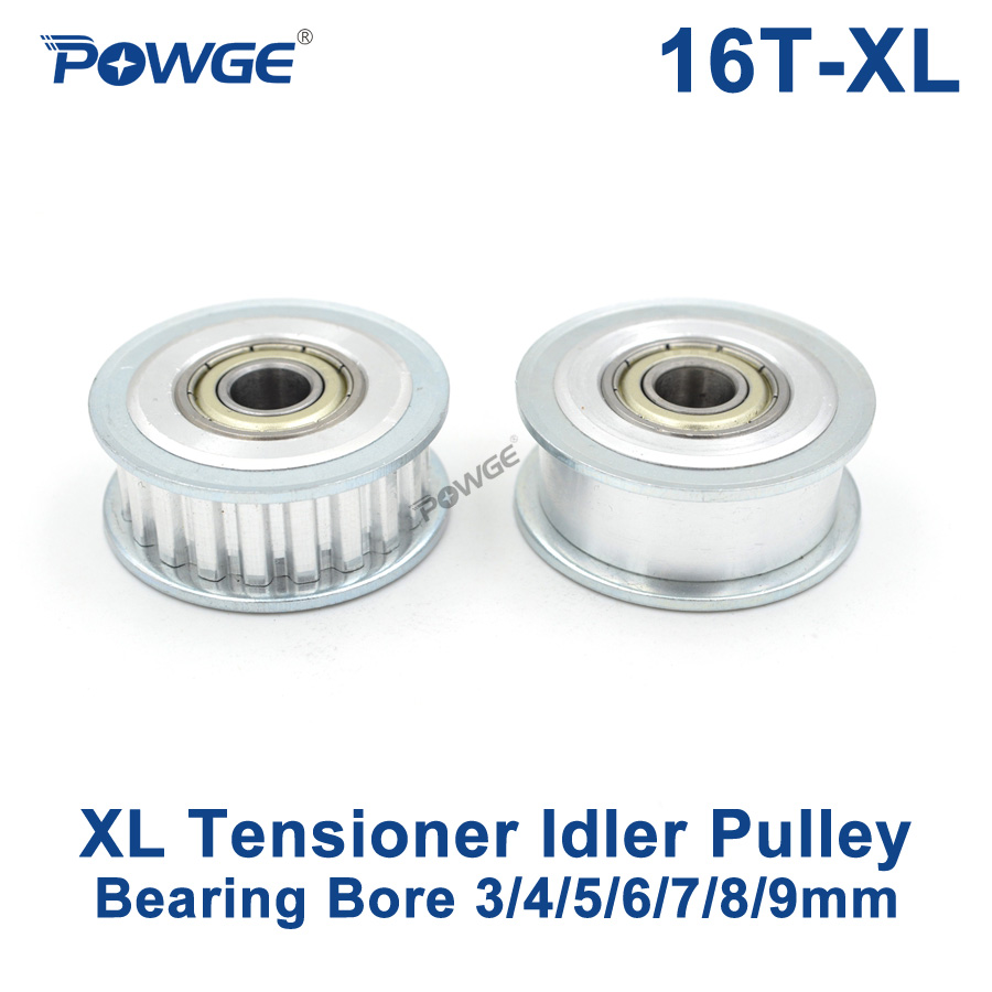 POWGE 16 Teeth XL synchronous Pulley Idler Tensioner Wheel Bore 3/4/5/6/7/8/9mm with Bearing Guide Passive pulley XL 16teeth 16TPOWGE 16 Teeth XL synchronous Pulley Idler Tensioner Wheel Bore 3/4/5/6/7/8/9mm with Bearing Guide Passive pulley XL 16teeth 16T